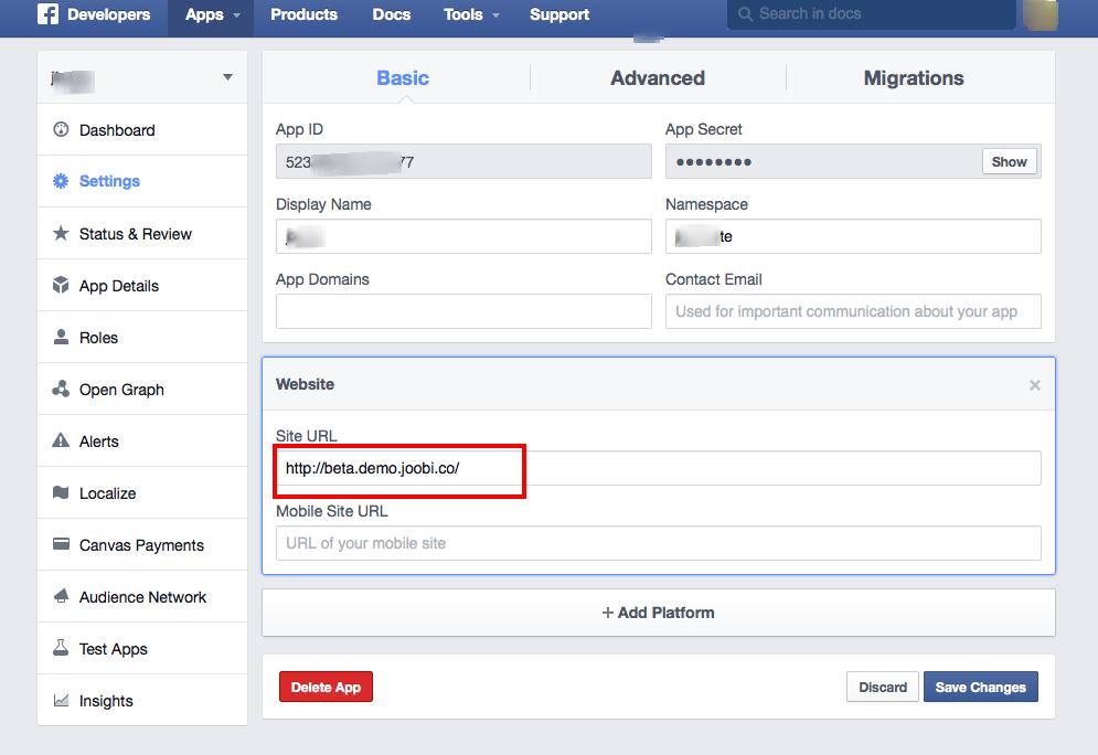How to get a Facebook App ID for your Website - Joobi